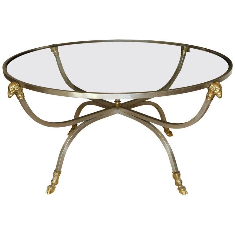 Italian Brass Steel Jansen Style Round Cocktail Coffee Table