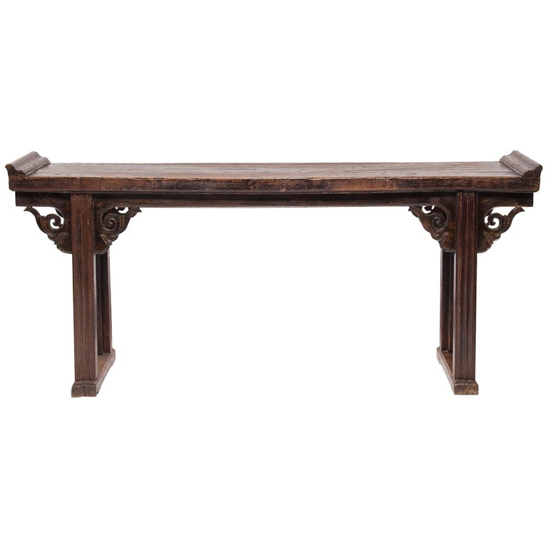 Plank Top Console Table with Everted Ends For Sale