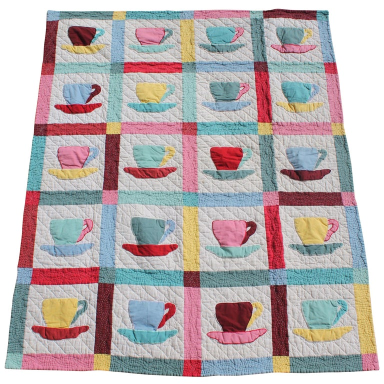 Antique Quilt, Midcentury Coffee Cups Applique Quilt For Sale