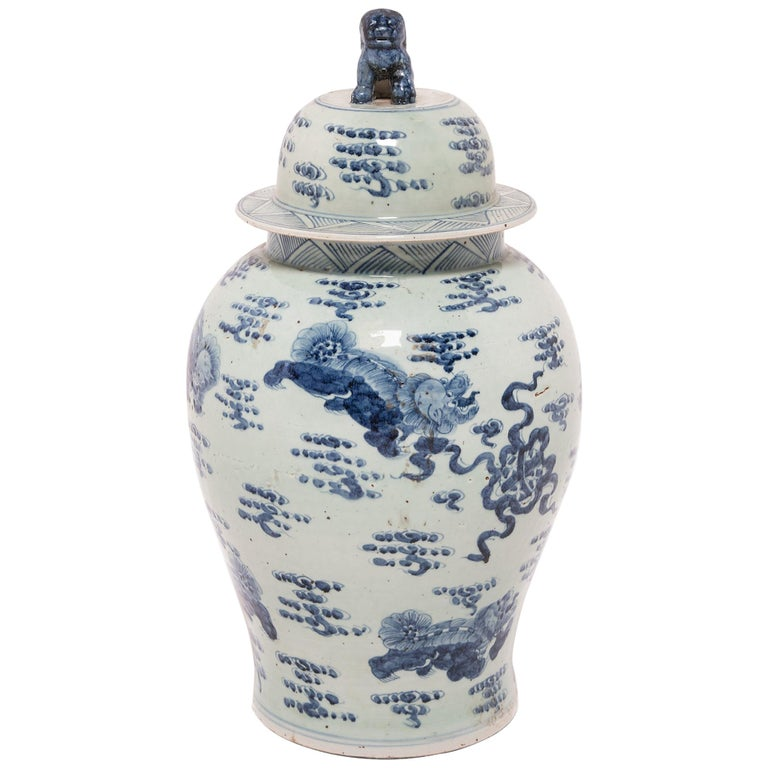 Chinese Blue and White Ginger Jar with Fu Dogs For Sale