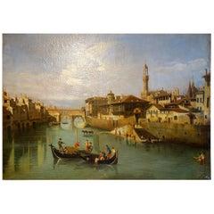 Renaissance Style Painting of Ponte Vecchio Lungo Arno River, Florence