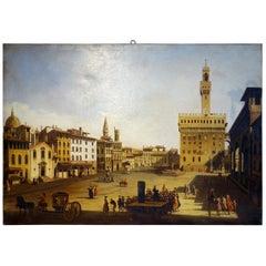 Renaissance Style Painting of Piazza Della Signoria, Palazzo Vecchio, Florence