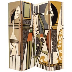 Four-Panel Room Divider Screen Decorated in Manner of Picasso