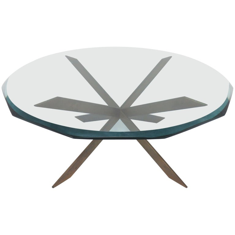 Leon Rosen for Pace Bronze X-Form Coffee Table
