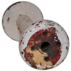 Irish Linen Wooden Bobbin Spool Machinery Rustic Relic, Red
