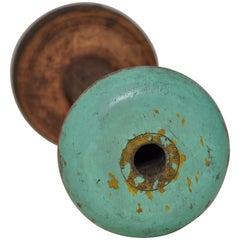 Irish Linen Wooden Bobbin Spool Machinery Rustic Relic, Green