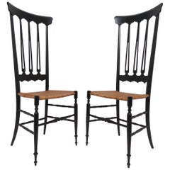 Pair of Chiavari High Back Chairs in Black Lacquer and Cane, circa 1960s