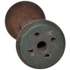 Irish Linen Wooden Bobbin Spool Machinery Rustic Relic, Very Dark Green
