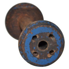 Irish Linen Wooden Bobbin Spool Machinery Rustic Relic, Deep Blue