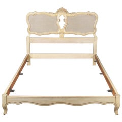 French Provincial Caned and Painted Double Bed Frame by John Widdicomb