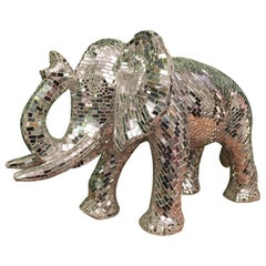 Large Mosaic Mirrored Elephant Sculpture