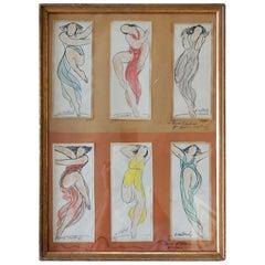 Abraham Walkowitz Watercolor Set of Isadora Duncan