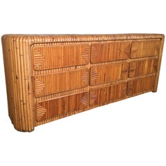 Midcentury Tropical Stacked Rattan Dresser