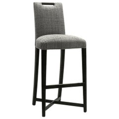 Donghia Studio X Counter Chair in in Silver Roxie Upholstery with Wood Handle