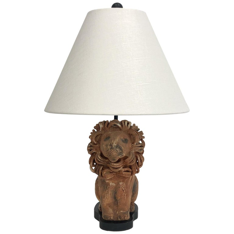 Rare Italian Ceramic Lion Table Lamp by Aldo Londi for Bitossi For Sale