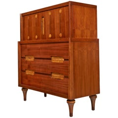 Burl Inlay Walnut Highboy Dresser by Daniel Jones Inc. of New York