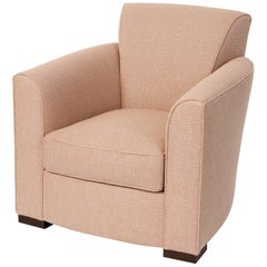 Donghia Noble Chair in Blush Pink Cotton Upholstery with Geometric Pattern