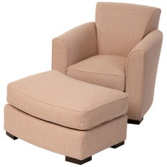 Donghia Noble Chair and Ottoman in Pink Cotton Upholstery with Geometric Pattern