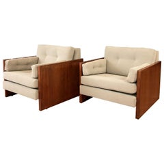 Pair of Milo Baughman-Style Walnut Cube Lounge Chairs