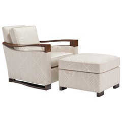 Donghia Woodbridge Club Chair and Ottoman in Cream Upholstery, Geometric Pattern