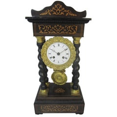 French Louis-Philippe Rosewood Portico Clock