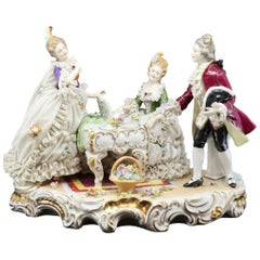 19th Century, Napoli Hand-Painted Porcelain Figure Musical Group
