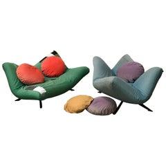 1980, Fabrizio Ballardini for Arflex, 2 Couches Ribalta in Original Soft Fabric