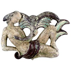 Michael Andersen Ceramics, Bornholm, Relief, Leda and the Swan