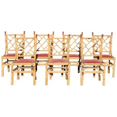 1970s Set of Seven Bamboo Chairs with Red Iron Nob Handles