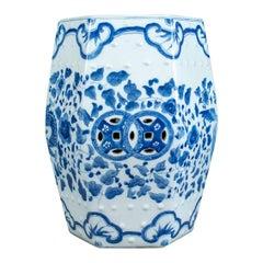 Ceramic Garden Stool, Chinese, Blue & White, Seat, Plant Stand, 20th Century