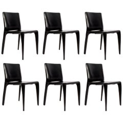 Set of Six Cassina Mario Bellini Black Leather Dining Chairs