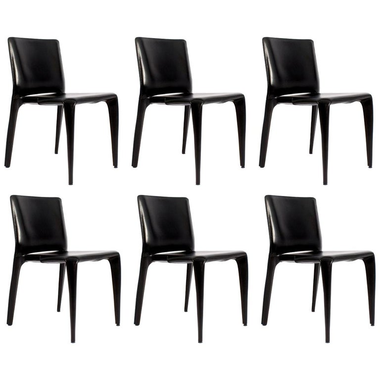 Set of Six Cassina Mario Bellini Black Leather Dining Chairs For Sale
