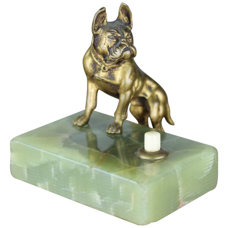 Antique Counter Top Bell with Cast Brass French Bulldog on Onyx Stone