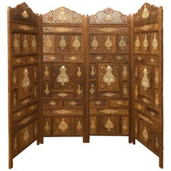 Vintage Anglo Indian Folding Wood Screen