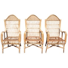 1970s Set of Three Spanish Bamboo and Lazed Rattan Armchairs