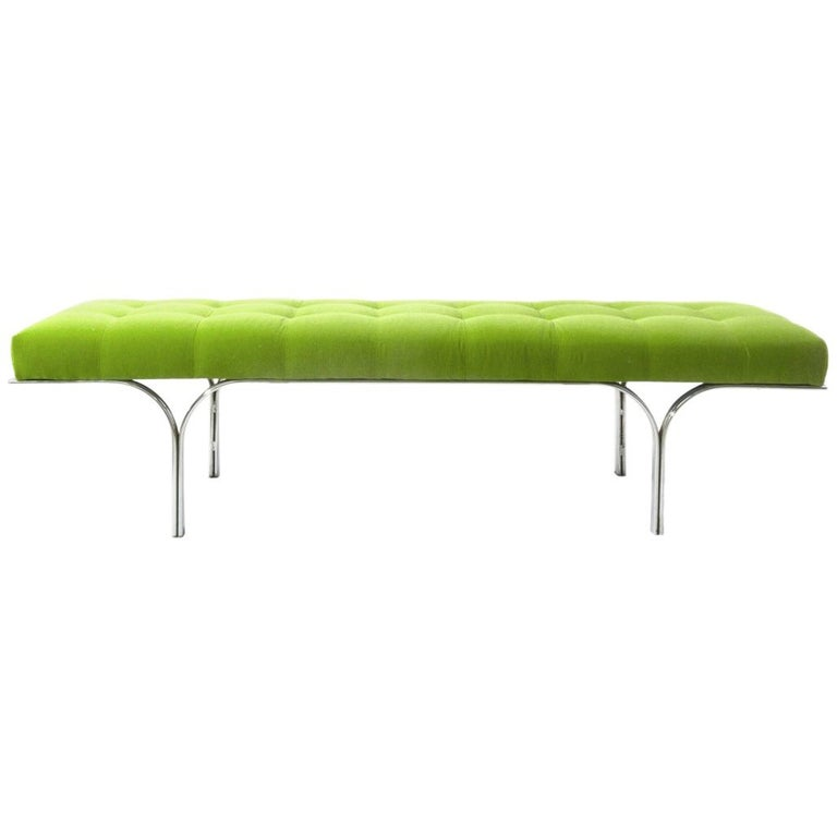 Vintage Modern Bench in Green Velvet For Sale