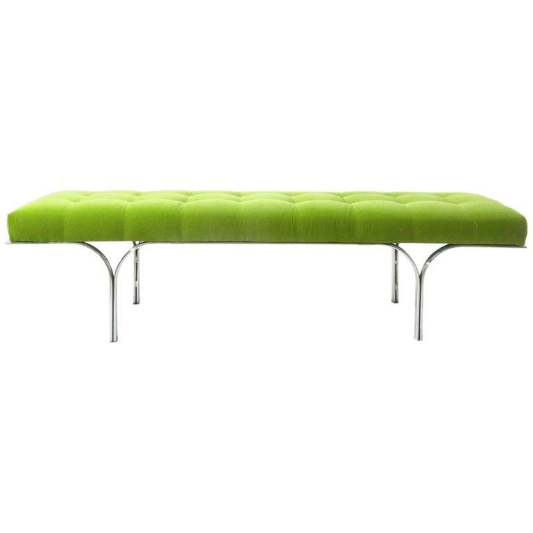 Vintage Modern Bench in Green Velvet