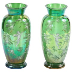 19th Century Pair of Green Glass Vases after Mary Gregory
