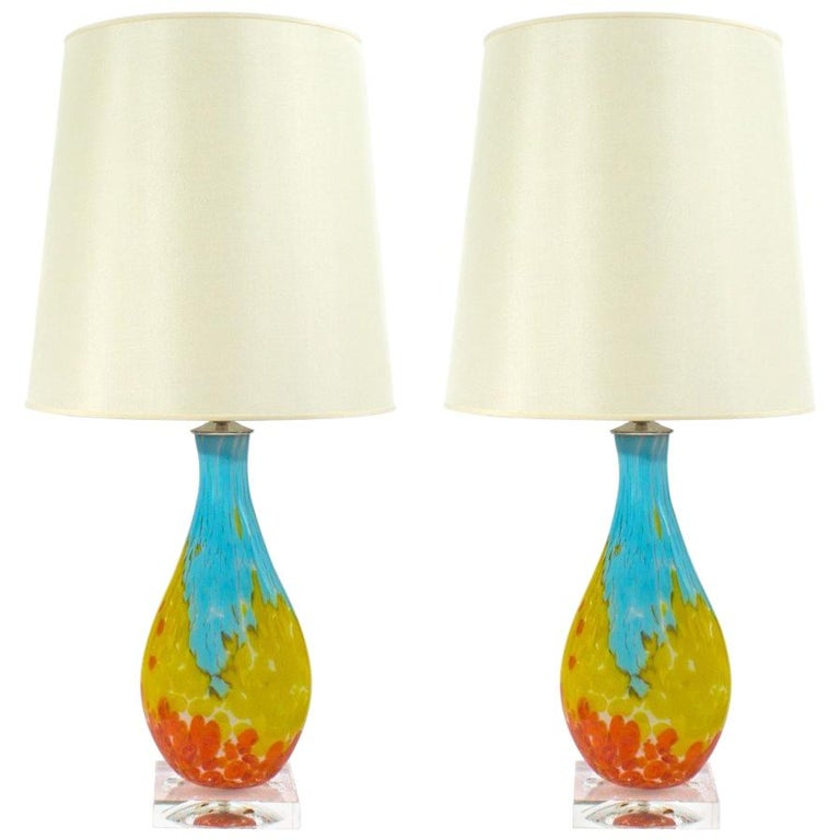 Pair of Murano Multi-Color Table Lamps For Sale