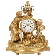 Napoleon III Gilt Bronze Clock in the Louis XVI Manner by Maison Marquis