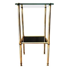 French Vintage Brass and Glass Side Table, 1960s