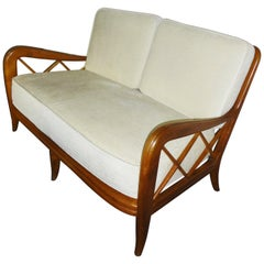 Elegant Cherrytree Sofa by Guglielmo Ulrich or Paolo Buffa, 1940s