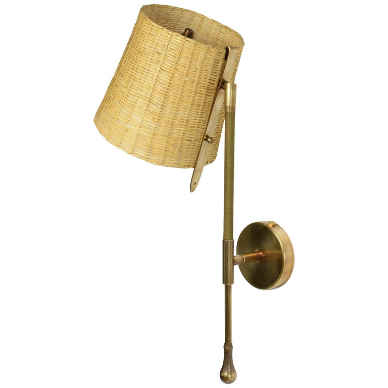 Ancora-II Contemporary Brass and Rattan Wall Light, Flow Collection For Sale