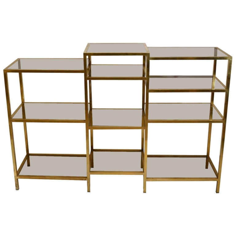 Italian 1960s Brass Multileveled Étagère Shelving Unit Attributed by Romeo Rega For Sale