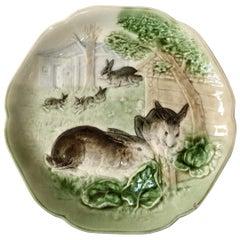Majolica Bunnies Family Plate Choisy le Roi, circa 1880