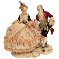 "Capo Di Monte 18th Century Porcelain Figures ""Woman in lace and man"""