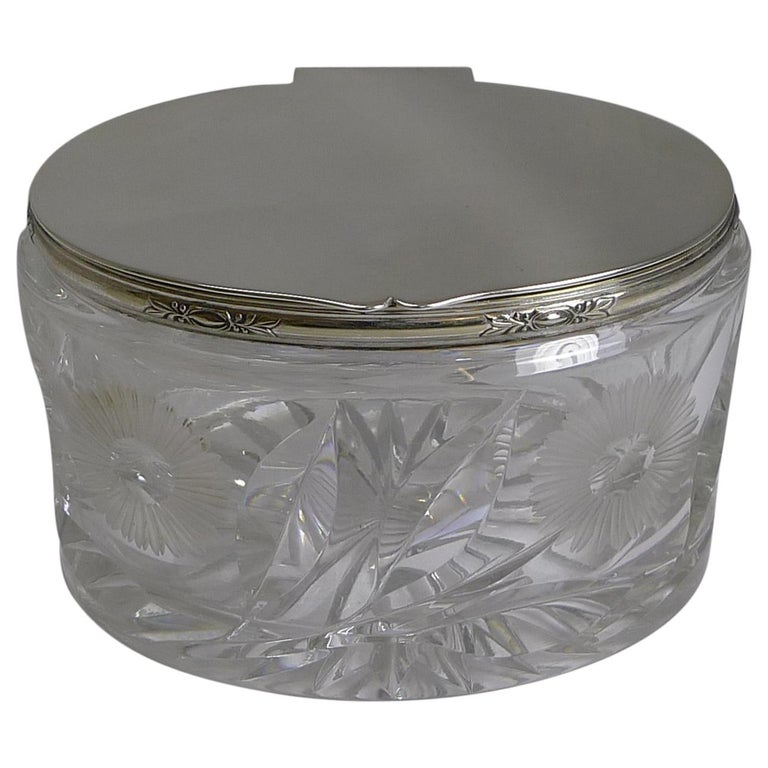 Stunning Vintage English Cut Crystal and Silver Plate Biscuit Box, 1929