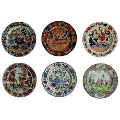 Six Early Mason's Ironstone Dinner Plates Harlequin Set, circa 1815