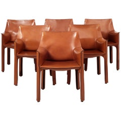Cab Leather Armchairs by Mario Bellini for Cassina Set of Six Italy 1980s
