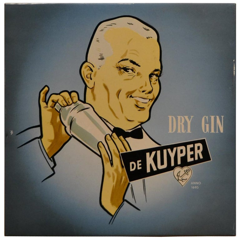 Vintage Dutch Counter Top Advertising Sign for Gin For Sale